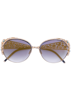 Elie Saab embellished round sunglasses - Metallic