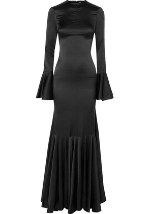 Caroline Constas - Allonia Fluted Stretch-silk Satin Gown - Black