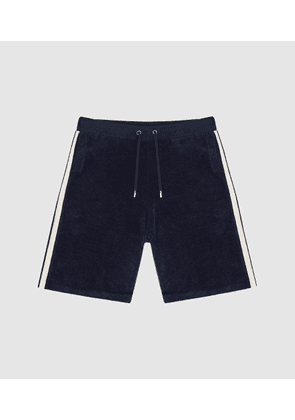 Reiss Neill - Towelling Shorts With Side Stripe in Navy, Mens, Size 28