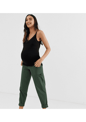 731590bc5147 ASOS DESIGN Maternity slim leg combat trousers in khaki with under the bump  waistband