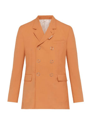 Burberry - Double Breasted Press Stud Wool Jacket - Mens - Orange