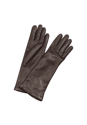 Women's Cashmere Lined Dark Brown Italian Leather Long Gloves