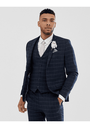 River Island wedding skinny suit jacket in navy check