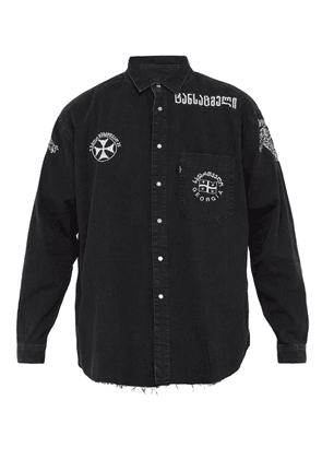 Vetements - Western Embroidered Denim Shirt - Mens - Black