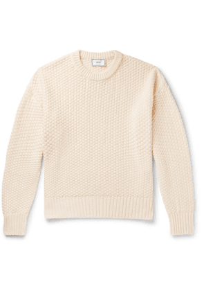 AMI - Linen And Cotton-blend Sweater - Cream
