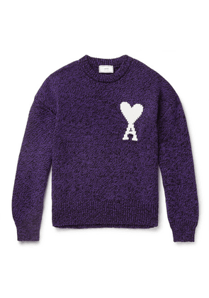 AMI - Oversized Logo-intarsia Cotton And Merino Wool-blend Sweater - Purple