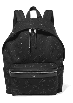 SAINT LAURENT - City Embroidered Leather-trimmed Canvas Backpack - Black