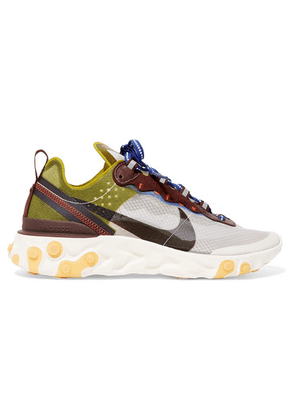 Nike - React Element 87 Ripstop, Leather And Suede Sneakers - Green