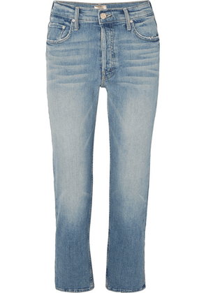 Mother - The Tomcat Cropped Distressed High-rise Straight-leg Jeans - Mid denim