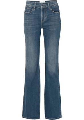 Current/Elliott - The Jarvis Distressed High-rise Flared Jeans - Mid denim