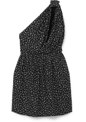 SAINT LAURENT - One-shoulder Printed Crepe Mini Dress - Black