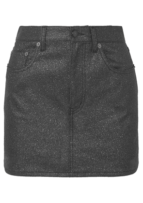 SAINT LAURENT - Glittered-denim Mini Skirt - Black