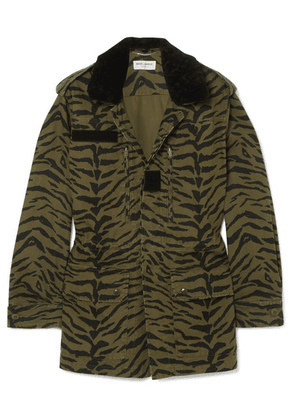 SAINT LAURENT - Shearling-trimmed Zebra-print Cotton-blend Twill Jacket - Army green
