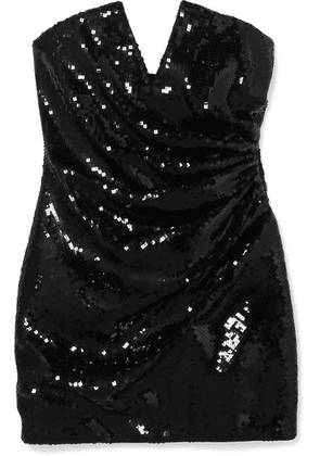 SAINT LAURENT - Strapless Sequined Crepe Mini Dress - Black