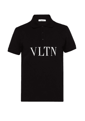 Valentino - Vltn Logo Print Cotton Piqué Polo Shirt - Mens - Black