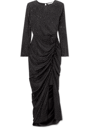 Veronica Beard - Amara Crystal-embellished Ruched Silk Midi Dress - Black