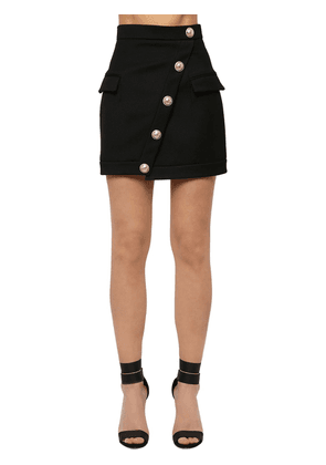 Wool Mini Skirt W/ Asymmetrical Buttons