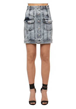 Washed Cotton Blend Denim Mini Skirt