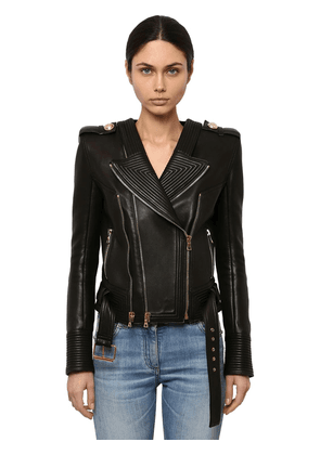 Fitted Leather Biker Jacket