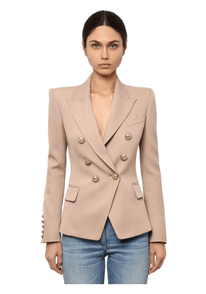 Double Breasted Wool Twill Blazer