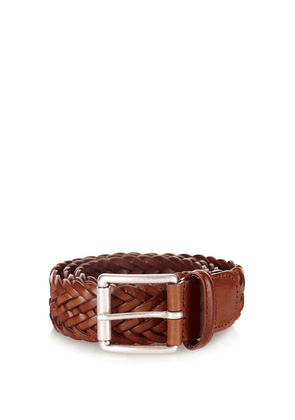 Anderson's - Woven Leather Belt - Mens - Brown