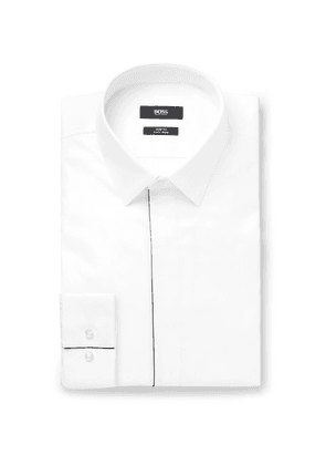 06bfdaa7 Hugo Boss - White Ivan Slim-fit Cotton-poplin Tuxedo Shirt - White