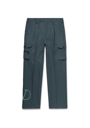 Valentino - Pleated Logo-print Tech-jersey Cargo Trousers - Green