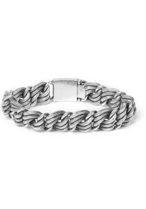 Foundwell - 1970s Chain Link Silver Id Bracelet - Silver