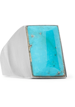Foundwell - 1990s Silver And Turquoise Ring - Silver