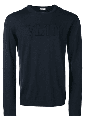 Valentino logo embossed fine knit sweater - Blue