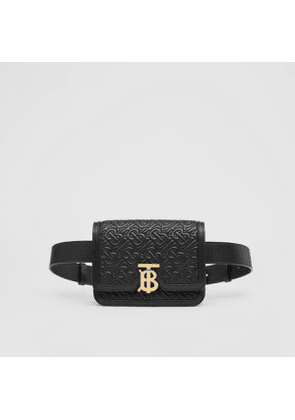 Burberry Belted Quilted Monogram Lambskin TB Bag, Black