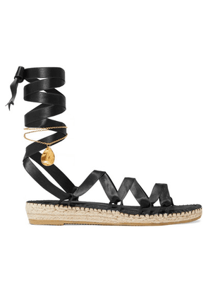 Alighieri - Teardrops On The Dancefloor Embellished Satin Espadrilles - Black