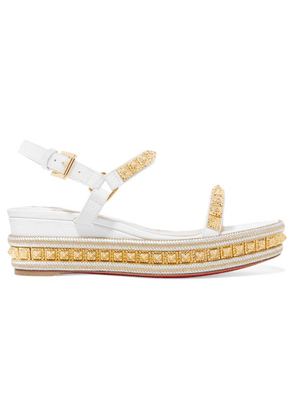 Christian Louboutin - Pyraclou 60 Studded Lizard-effect Leather Wedge Sandals - White