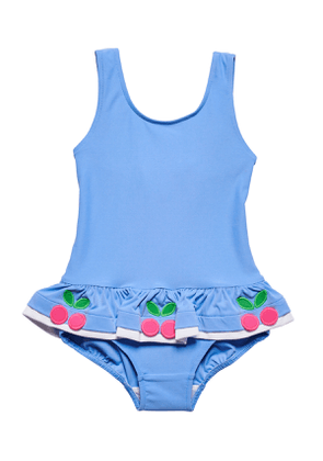 Ruffle-Trim Cherries One-Piece Swimsuit, Size 6-24 Months