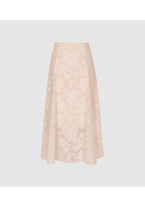 Reiss Chloe - Burnout Floral Midi Skirt in Pink, Womens, Size 4