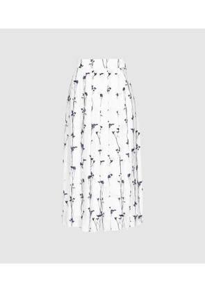 Reiss Leona - Floral Printed Pleated Midi Skirt in White, Womens, Size 4