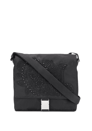 Etro embroidered detail shoulder bag - Black
