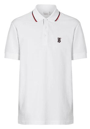 Burberry Icon Stripe Placket Cotton Piqué Polo Shirt - White