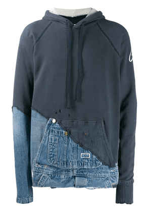 Greg Lauren fabric and denim hooded jacket - Blue