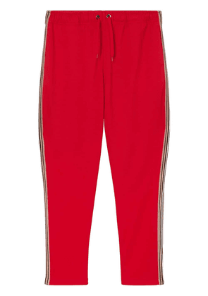 Burberry Icon Stripe Detail Jersey Trackpants - Red