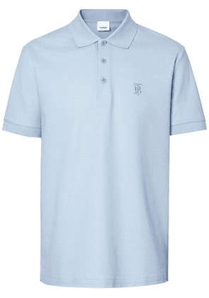 Burberry Monogram Motif Cotton Piqué Polo Shirt - Blue