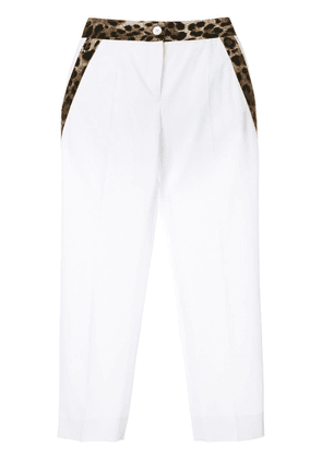 Dolce & Gabbana leopard trim cropped trousers - White