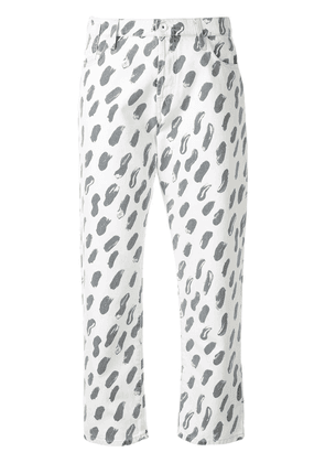 Marni patterned cropped jeans - White