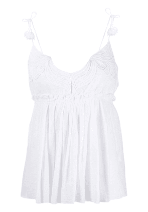 Dondup embroidered flared top - White