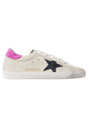 Golden Goose - Superstar Leather-trimmed Glittered Distressed Suede Sneakers - Cream