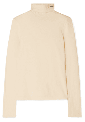CALVIN KLEIN 205W39NYC - Embroidered Cotton-jersey Turtleneck Top - Yellow
