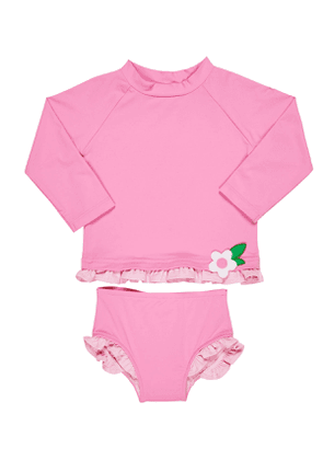 Ruffle-Trim Rash Guard w/ Matching Bottoms, Size 2-6X