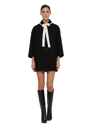 Contrasting Bow Wool Blend Coat