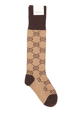 Gg Jacquard Logo Cotton Blend Socks