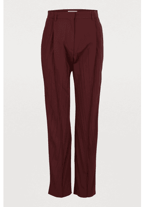 Micro-faille pleated pants